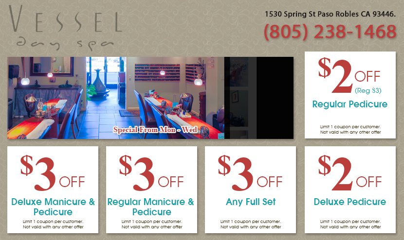 Vessel Day Spa  Coupon Paso Robles CA